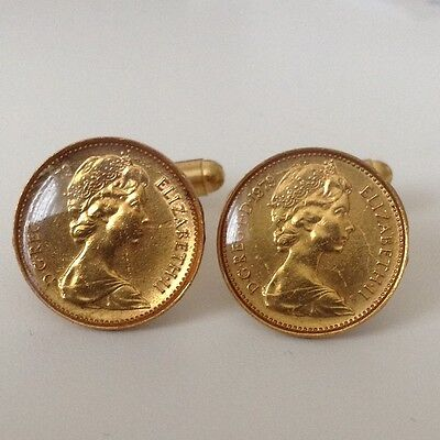1979 1/2p Coin Cufflinks. Gold plated and glazed. 37th Birthday.