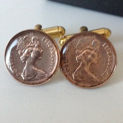 1979 Half-penny (1/2p) Coin Cufflinks. Glazed. 37th Birthday. Handmade