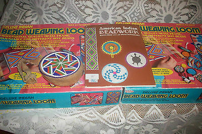 Vintage Walcraft Deluxe Indian Bead Weaving Loom (2 sets) & Old Bead Coin Purse