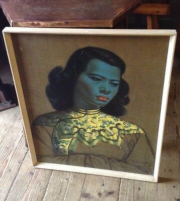 Tretchikoff Vintage  Chinese Girl Print on Board  1960s Boots Frame 25 inch