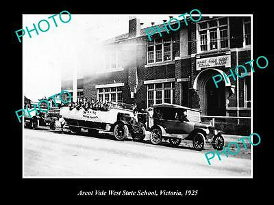 OLD LARGE HISTORIC PHOTO OF ASCOT VALE WEST STATE SCHOOL, VICTORIA c1925