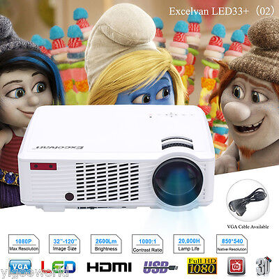 NEW 2600 Lumens 3D Home Theater Multimedia USB HDMI 1080P Full HD LED Projector