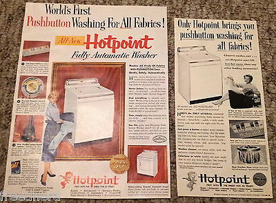 Lot of 2 Hotpoint Pushbutton Automatic Washer  Appliance Vintage Print Ads