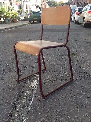 vintage metal and bent wood industrial chairs, school, office chairs