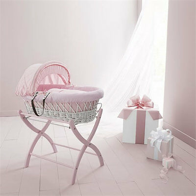 Brand new in box Izziwotnot white wicker moses basket pink gift with pink stand