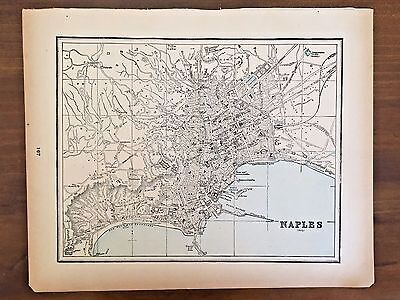 Vintage Color Map  of Naples 1893
