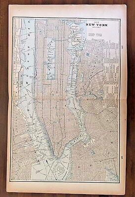 Vintage New York Color Map 1893