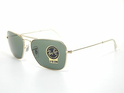 New Ray Ban RB3136 001 Caravan Gold Frame/Crystal Green 58mm Sunglasses