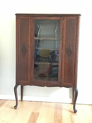 Antique China Curio Cabinet Wood And Glass. With Key