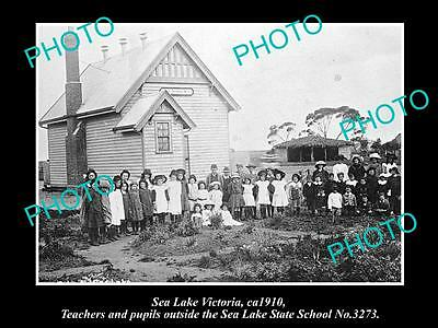 OLD LARGE HISTORIC PHOTO OF SEA LAKE VICTORIA, PUPILS AT THE STATE SCHOOL c1910