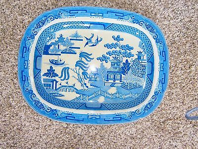 Vintage blue and white willow pattern very large serving plate
