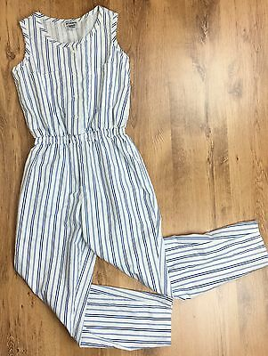 Vintage 80's 100% Cotton Striped Jumpsuit White Sleeveless Pockets Size 8 - 10