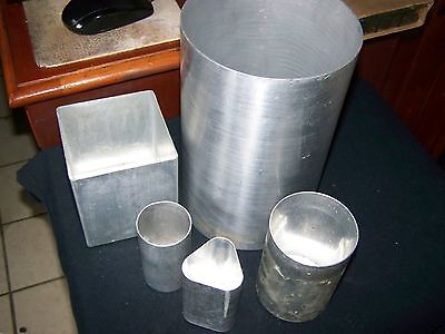 "5 Pieces 3 Round Pillar 1 Square 1Triangle Aluminum Candle Molds 9 1/2"" by 6"""