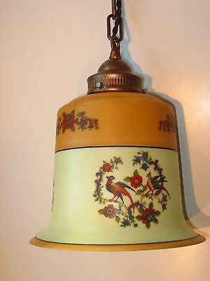 Large Antique Copper Painted Victorian Hanging Ceiling Floral Glass Light Lamp