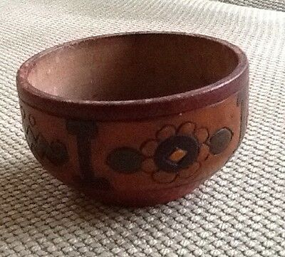 Antique Small Turned Carved Wooden Bowl