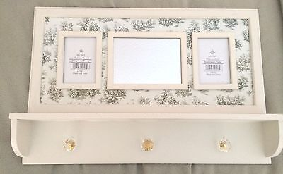 Wall Shelf Multi-Functional w/Mirror Picture Frames Shabby Cottage Toile Design