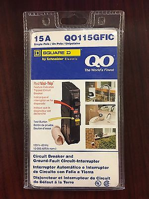 NEW SEALED! Square D QO115GFIC Ground Fault Circuit Breaker 15A