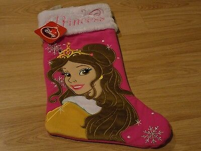 Disney Princess Belle Beauty & the Beast Christmas Holiday Stocking Pink New