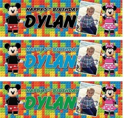 PERSONALISED LEGO MICKEY MOUSE / MINNIE MOUSE BIRTHDAY BANNER e5