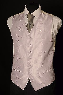 W - 1088.mens/boys Lilac Floral With Silver Wedding Waistcoat/ Dress / Suit