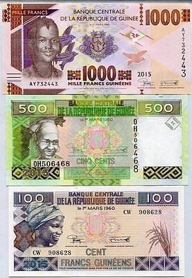 Guinea Set 3 Pcs 100 500 1000 Francs 2015 P New Unc