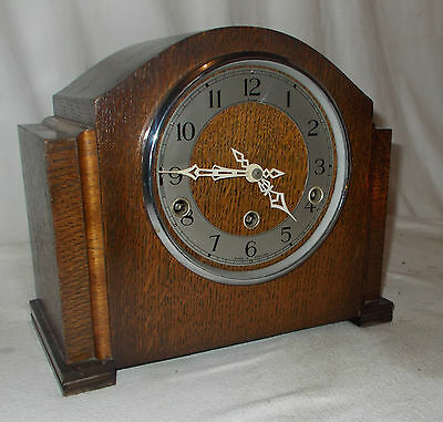 Enfield MANTEL CLOCK With Westminster & SILENT Option VINTAGE In OAK Case