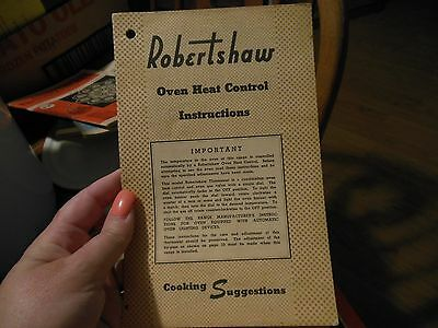 Robertshaw Oven Heat Control Instructions & Cooking Suggestions RT 192