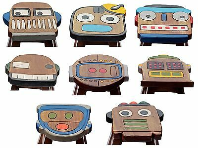 Childs Childrens Kids Wooden Stool Chair - Vintage Robots Collection Handmade