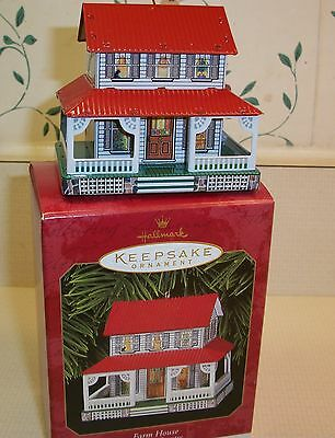 """Hallmark Ornament """"Farm House"""" First in Town and Country Series    MIB"""