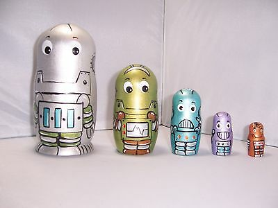 Hand painted Robots collection stacking nesting doll set