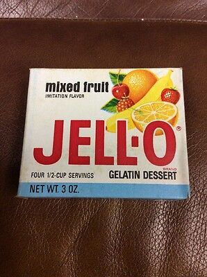 VINTAGE Sealed 1960s JELL-O MIXED FRUIT FLAVOR Full Box Old Unused Kitchen JELLO