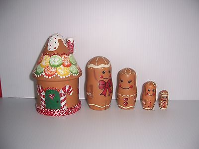 Hand painted Gingerbread House and Family stacking nesting doll set