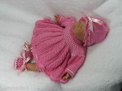 """Hand Knitted 4 Piece Angel Top Set To Fit 18"""" Reborn Baby Girl Doll"""