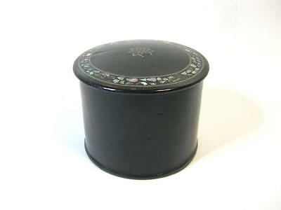 Vintage black lacquered paper mache trinket  pot  jar with mother of pearl inlay