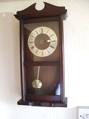 Vintage  Made In Germany Wall Clock With Pendulum Good Working Cond
