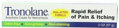 2 Pack Tronolane Rapid Relief Anesthetic Cream for Hemorrhoids 2 Oz Each