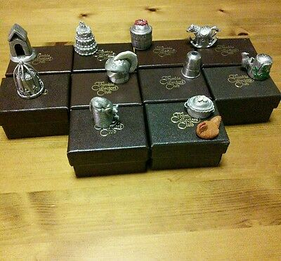 Collectiion of 10 boxed pewter thimbles by Thimble Collectors Club