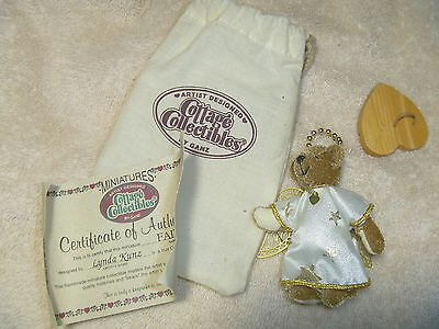 GANZ COTTAGE COLLECTIBLES MINIATURES FAITH ANGEL BEAR WITH CERTIFICATE paper