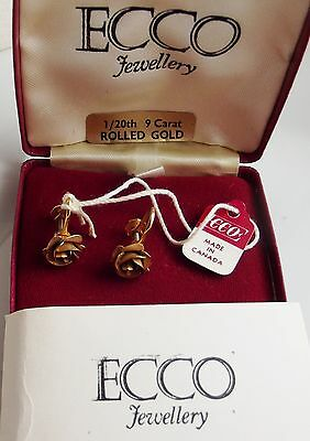 """ECCO"" SIGNED MADE IN CANADA 9ct ROLLED GOLD VINTAGE EARRINGS OROGINAL BOX TAG"