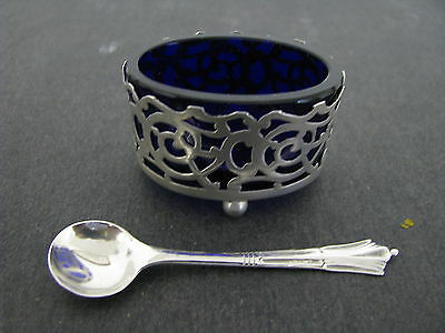 Sterling silver salter with matching makers spoon & cobalt blue glass liner 1910