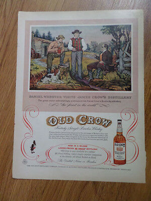 1956 Old Crow Whiskey Ad Webster Visits James Crow's Distillery