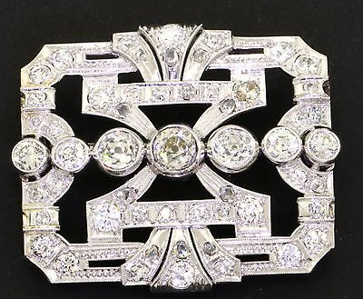 Antique Platinum rare elegant 3.0CT VS2-SI1/G-H diamond brooch w/ .50CT ctr.