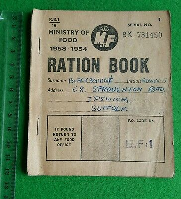 A 1953 Ministry of Food Ration Book