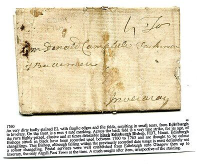 1760 Letter. The Rare Highly Prized Elusive Black Edinburgh Bishop. To Inverary.