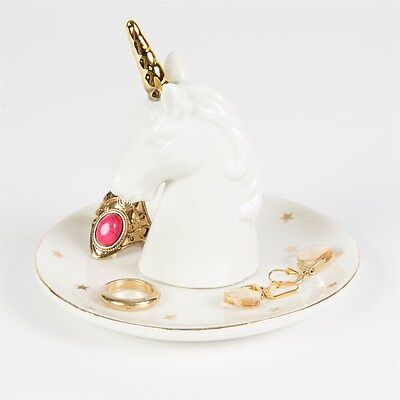 White Gold China UNICORN Ring Tree Stand Dish Trinket Storage Holder Jewellery