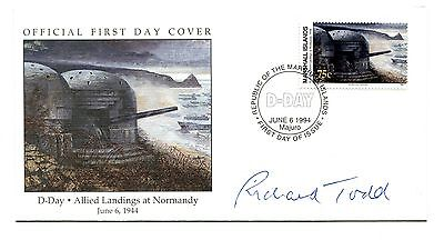 1994 D-Day Landings Marshall Islands Fdc. Autographed By Richard Todd ( Actor ).