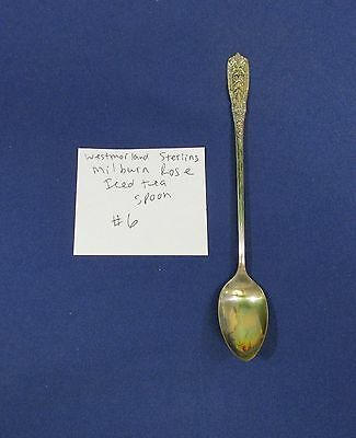 Vintage Sterling Silver Westmorland Milburn Rose Pattern Iced Tea Drink Spoon #6