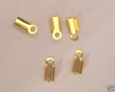 500 - Gold Plated Folding Crimp Ends+FREE-200 gold split rings-