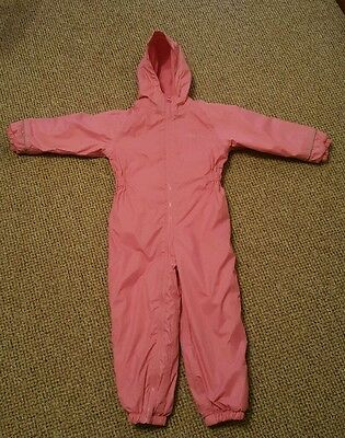 Girls pink Regatta all-in-one waterproof suit aged 4-5yrs