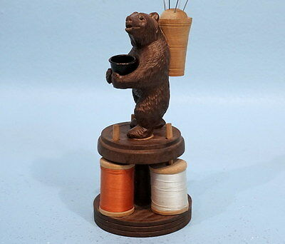 Antique Swiss Black Forest Wood Carved Needle Thread Thimble Holder Bear c1900